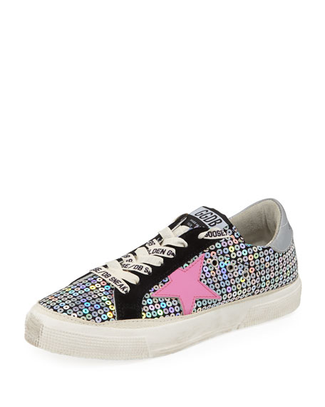 MAY SEQUIN EMBELLISHED PLATFORM LOW-TOP SNEAKERS