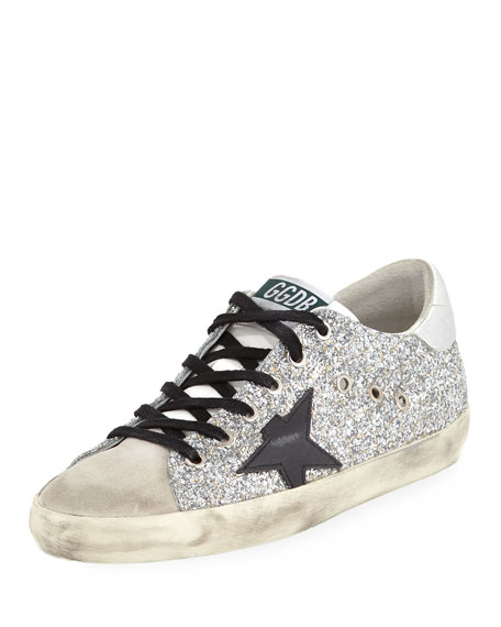 Superstar Glitter Fabric & Suede Low-Top Sneakers, Silver