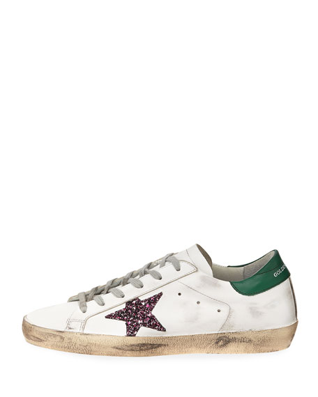 Superstar Leather Low-Top Platform Sneakers, White/Green
