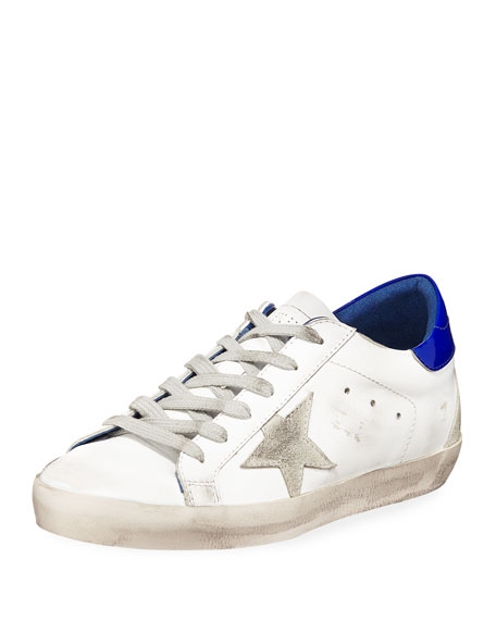 info for e8705 1458c Golden Goose Superstar Leather Low-Top Platform Sneakers, White Blue