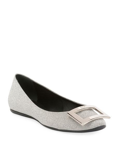 ROGER VIVIER Gommette Bellerine Glittered Leather Ballet Flats in Silver