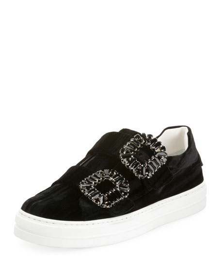 Sneaky Viv Double Strass Buckle Sneakers, Black