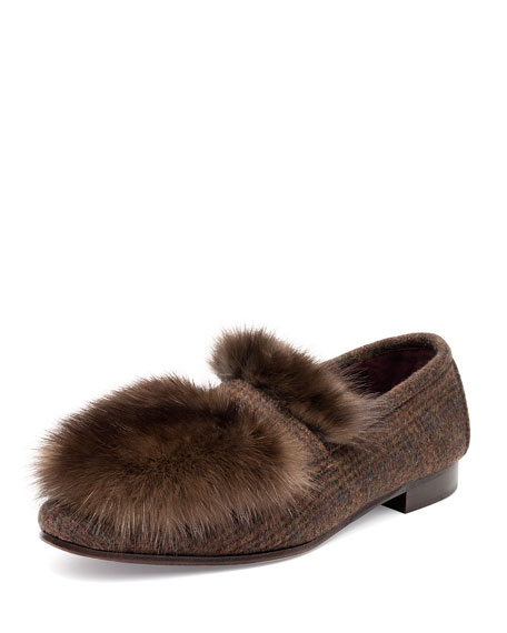 Bougeotte Cashmere and Fur Flat Loafers