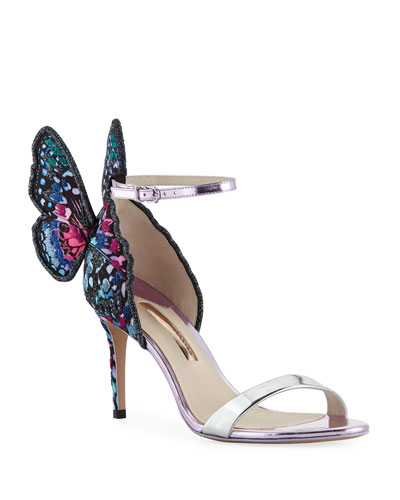 Chiara Embroidered Butterfly Satin Sandals
