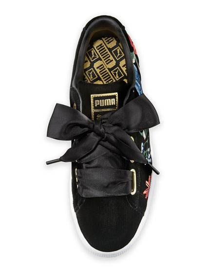 Basket Heart Hyper Embroidered Sneakers, Black
