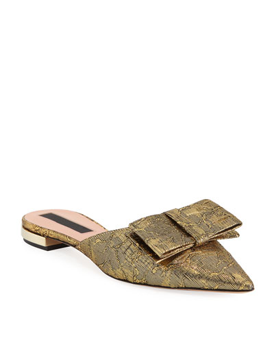 Flat Metallic Brocade Mule with Bow