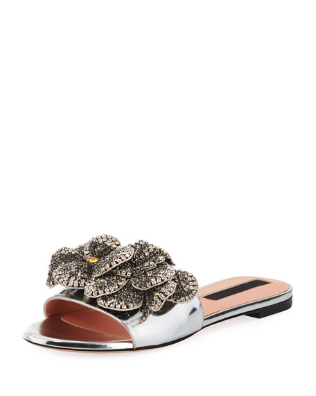 ROCHAS Shiny Leather Flat Slide Sandal With Crystal Flower in Metallic