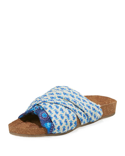 Suki Patterned Silk Cork Flat Slide Sandal