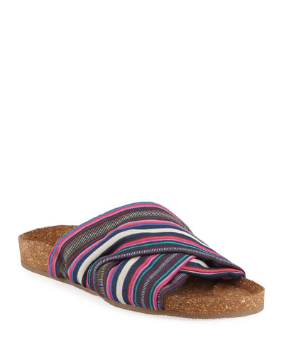Suki Flat Striped Silk Cork Slide Sandal