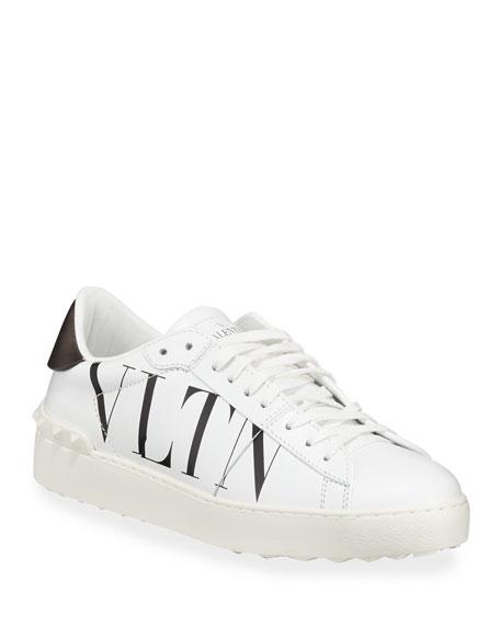 b5bae9514e28 Valentino Garavani VLTN Open-Laced Leather Low-Top Sneakers