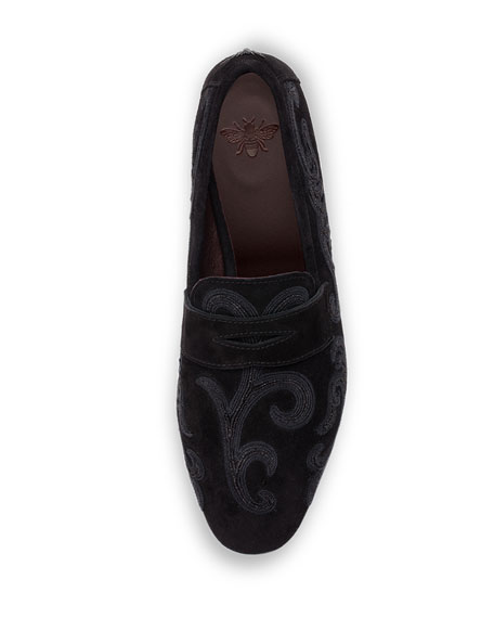 Flaneur Embroidered Suede Penny Loafers