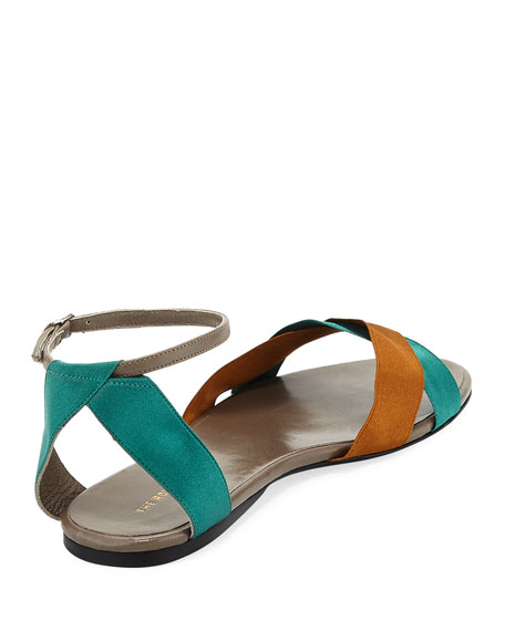 Colorblock Ribbons Flat Sandal