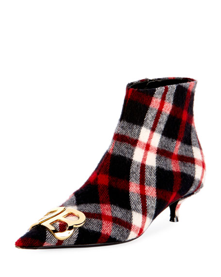 Ladies Tartan Check Bb Flannel-Wool Ankle Boots, Red/Blue
