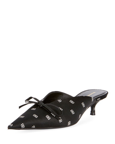 BB Logo Satin Bow Mule