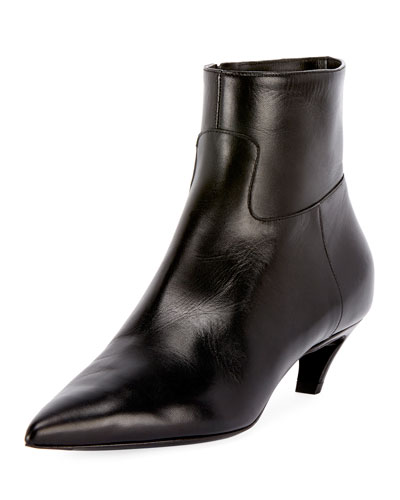 Leather Pointed Zip Bootie
