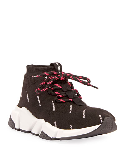 Lace-Up Logo Stretch Sneakers