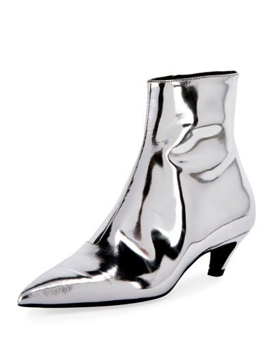 Mirrored Metallic Ankle Bootie