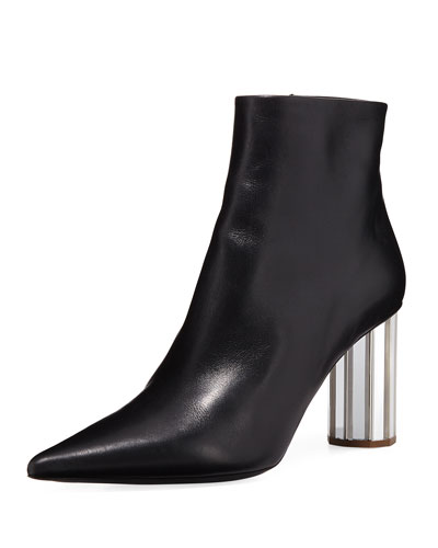 Calfskin Bootie with Mirror Block Heel