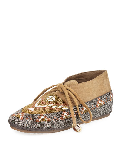 Wolf Beaded Moccasin Flat