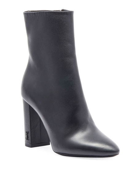 Loulou Leather Ankle Boots, Black Leather