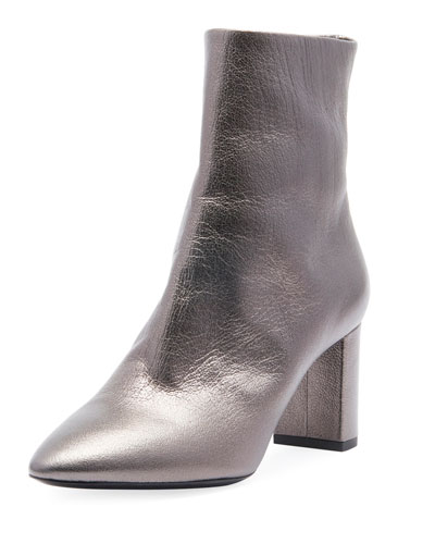 LouLou Zip Bootie, Gray Metallic