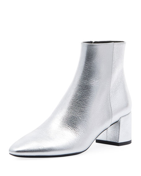 Loulou Metallic Booties, Silver