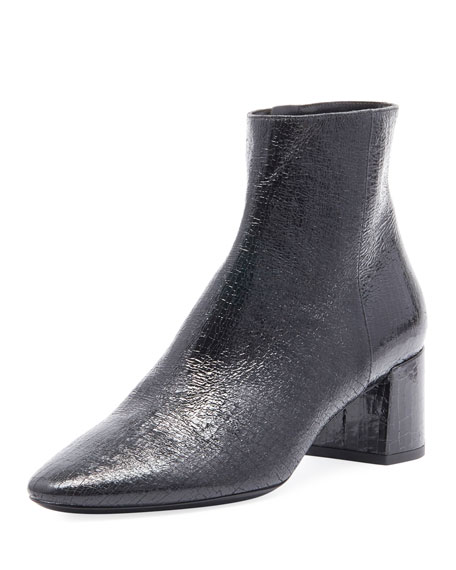 LOULOU CRACKED LEATHER ANKLE BOOTS