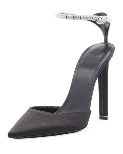 Satin Pump with Strass Strap