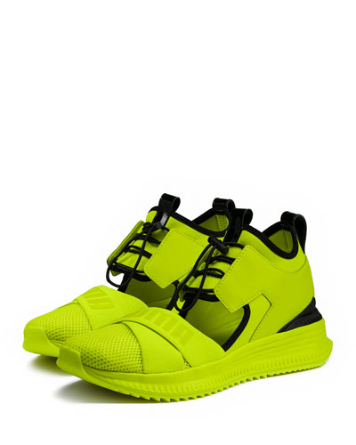 Avid Leather/Mesh High-Top Sneakers, Green
