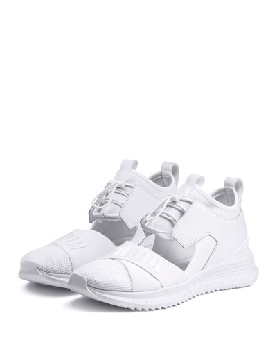 Avid Leather/Mesh High-Top Sneakers, White