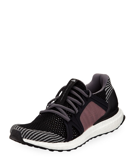 Ultraboost Flat-Knit Trainer/Runner Sneakers, Black/Smoked Pink