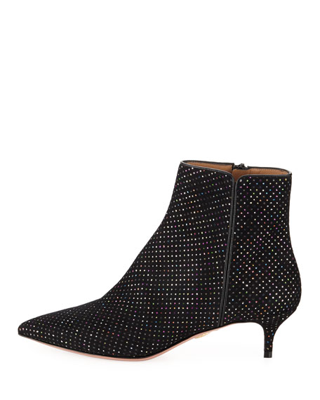 Quant Metallic-Dotted Kitten-Heel Booties