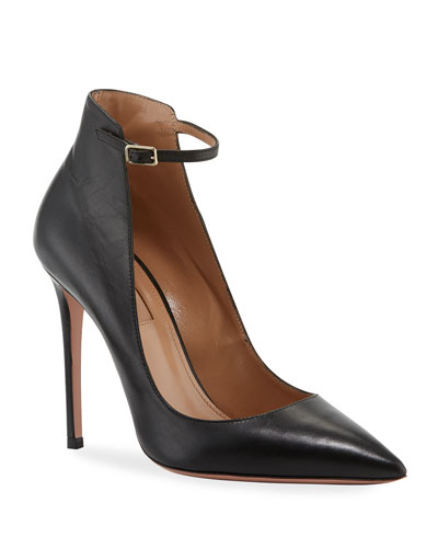 Calf Leather Ankle-Strap Pump