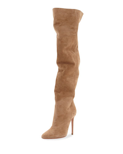 Alma Over-The-Knee Slouchy Suede Boots Suede