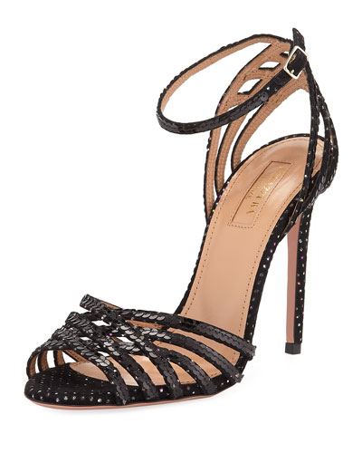 Studio Sequin Sandals with Ankle Strap Velvet