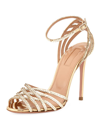 Studio Sequin Metallic Leather Sandal with Ankle Strap