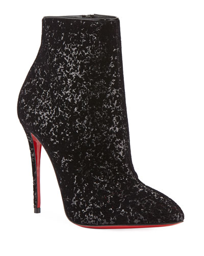 Eloise Glitter Velvet Red Sole Booties