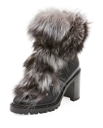 Fanny Calf Red Sole Booties with Fur Trim