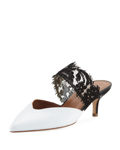 Maisie Leather & Lace Mule Pump