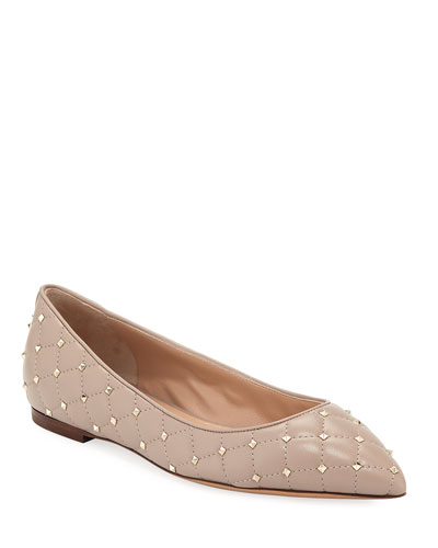 Rockstud Spike Leather Ballet Flat