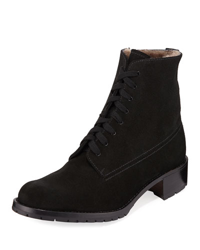 Suede Lace-Up Combat Boots