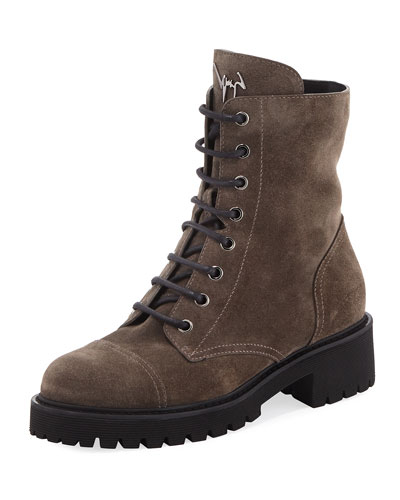 Fur-Lined Lace-Up Combat Boots