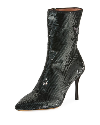 Wendie Stretch Sequined Booties