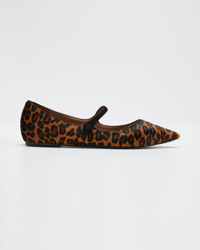Hermione Leopard-Print Mary Jane Flats