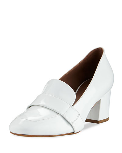 Mika Block-Heel Leather Loafer Pumps, White