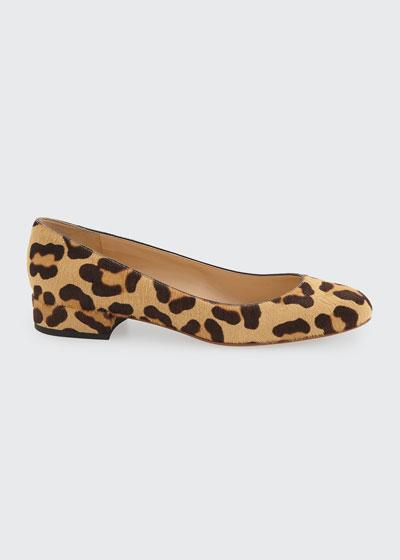 Leopard Fur Ballerina Flats