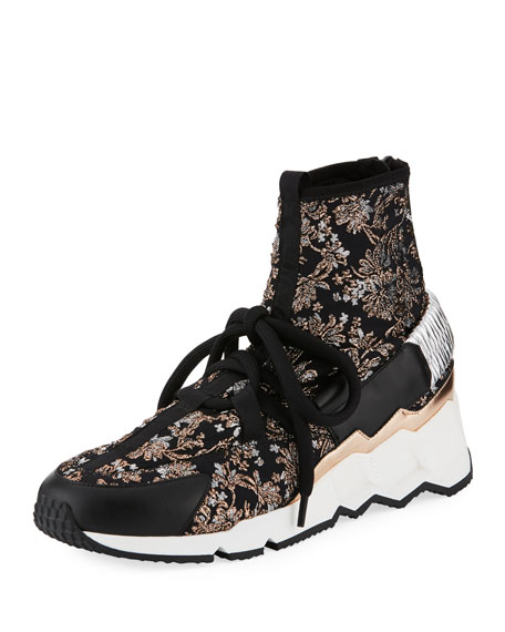 Comet Trek-Up Metallic Floral Jacquard Sneakers