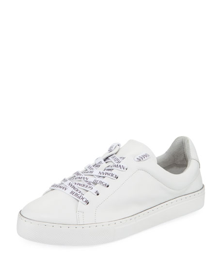 Bg Laces Leather Sneakers, White Pattern