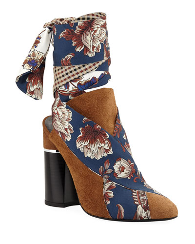 Drum Glove Mules with Multi-Print Ties