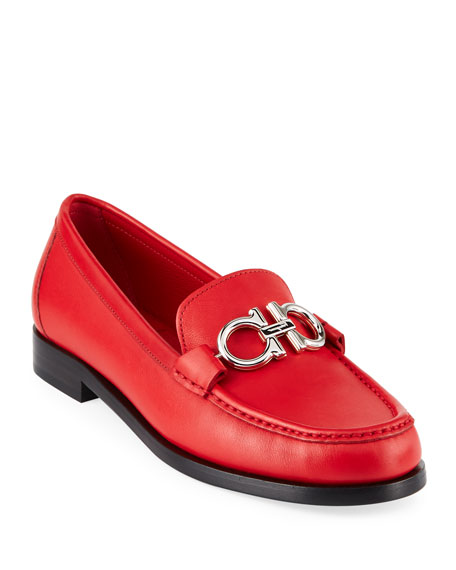 Rolo Calf Leather Loafers With Gancini Bit in Lipstick